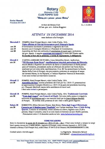 Copertina Programma dicembre 2014