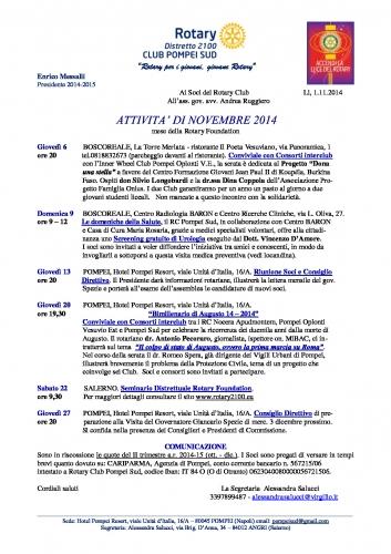 Copertina programma Pompei Sud novembre 2014